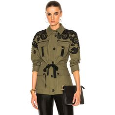 Veronica Beard Heritage Utility Jacket with Lace (£539) ❤ liked on Polyvore featuring outerwear, jackets, coats & jackets, brown utility jacket, veronica beard, stitch jacket, embroidered jacket and utility jacket