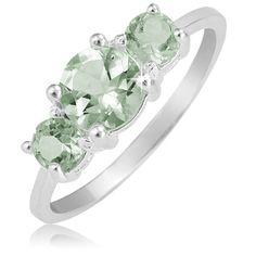 $19.99 - 3-Stone 2.25 Carat Light Green Amethyst Sterling Silver Ring