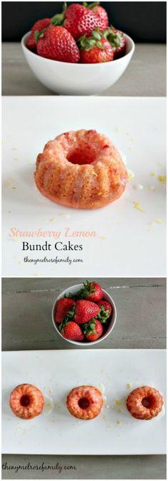 Strawberry Lemon Bundt Cakes www.thenymelrosefamily.com #bundt_cake #strawberry #lemon