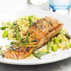 Budget dinner price: $2.49 per serving Sprinkled with zesty lemon juice and coated in fresh herbs and savory seasonings, our sophisticated salmon dinner is a real catch. Plus, salmon is low in fat, high in protein, and full of great flavor.