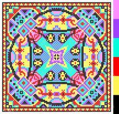 motif carré géométrique pour point de croix broderie traditionnelle ukrainienne, qui aiment à la main et à la création, pixel ornement illustration vectorielle Banque d'images - 37089727