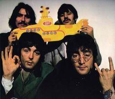 The Beatles - George Harrison, Richard Starkey, Paul McCartney, and John Lennon - Yellow Submarine picture.