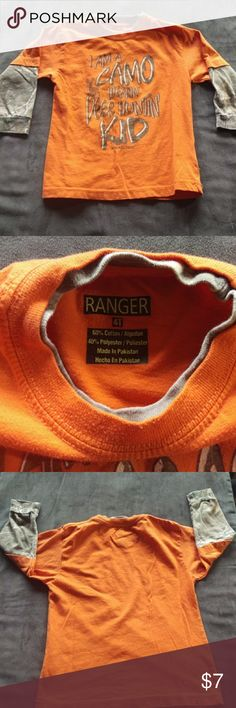 Boys long sleeve T-shirt Boys long sleeve T-shirt from ranger. Orange with camp colored sleeve. Good condition. No rips/stains/holes. Ranger Shirts & Tops Tees - Long Sleeve