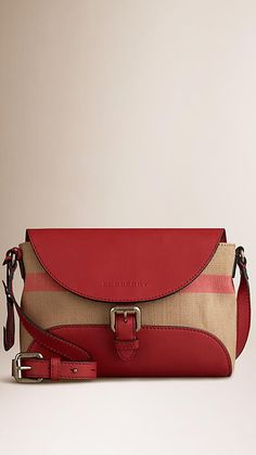 Cadmium red Small Canvas Check and Leather Crossbody Bag - Image 1