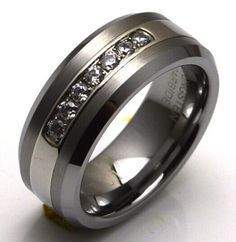 Elixt Wedding Ring Tungsten Carbide Band With 7 Diamond Cz Down The Center Mens
