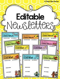 These 23 editable newsletters are templates for you to use for your weekly/monthly class news. ALL of the newsletters come in both color and black and white (23 color, 23 black and white, 46 in all).