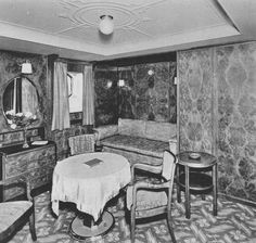 A First Class Luxuskabine (Luxury Cabin) of the steamship Europa, consort flagship of the Norddeutscher Lloyd (North German Lloyd). 1930. Image courtesy the private collection of John Cunard-Shutter.