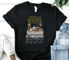 Star Wars Friends 43 Years Of Anniversary T Shirt star wars t-shirt top shirt star wars t-shirt tee top shirt for star wars fans Mom And Daughter Matching, Star Wars Tshirt, Photo Lighting, Cheap T Shirts, For Stars, Tee Shirts, Anniversary, Graphic Sweatshirt, Trending Outfits
