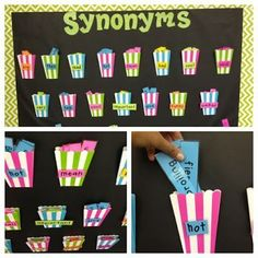 """A pocket full of synonyms: interactive bulletin board. You can make this bulletin board with anything that has pockets. I found these colorful popcorn bags at a party store. On the outside of the pocket you place the """"overused words,"""" and inside are """"impressive synonyms"""" that can add flavor to students' writing. During writing time, encourage students to come up to the wall and choose a word in the pocket to help making their writing more colorful. - apples & ABC'S"""