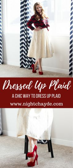 Red plaid top outfit idea paired with a delicate gorgeous 50's styled skirt. Red ruffle heels adds romance to this chic dressed up outfit. Perfect for dates, Valentine's Day or family shoots.
