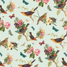 Beautiful bird and floral pattern | Identity - PETITE MARGOT by Julieta Dominguez, via Behance