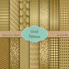 Gold Digital Paper: Gold Patterns glitter gold by Lunabludesign
