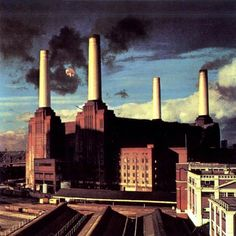 Animals, by Pink Floyd.  Roger Waters wanted an inflatable pig over the Battersea Power Plant in London, so they tried it and the Pig flew away.  They wound up adding a pig to a shot, but it's a great cover for a fantastic album.  If you're sick of the rat race, this album is for you.