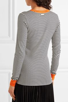 MICHAEL Michael Kors - Striped Stretch-jersey Top - Midnight blue - x small