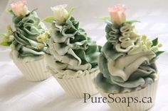 Green & White Floral Cupcake Soap