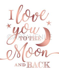 Chic Rose Gold Love Sign Printables   Love You To the Moon and Back   Wedding Downloads   Rose Gold