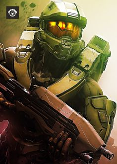 Halo Guardians video game artwork printed on metal poster.