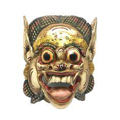 Awesome Mask Barong Dragon Hindu Bali Wood Hand Carved Paint Wall Art Sculpture