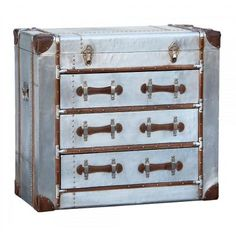 Industrial Aluminium Silver Chest of Drawers Aviator Vintage Luggage Style Large Chest Of Drawers, 3 Drawer Chest, Industrial Storage, Industrial Style, Industrial Furniture, Industrial Design, Storage Trunk, Storage Chest, Bedroom Furniture