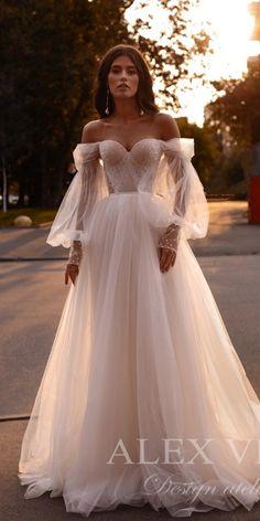 36 Totally Unique Fashion Forward Wedding Dresses ❤ fashion forward wedding dresses a line sweetheart neckline with sleeves romantic alex veil #weddingforward #wedding #bride