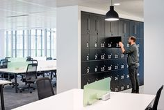 Vubiquity, 3 More London by HKS Architects. Secure office lockers for hot-desking and flexible working trends. Let your workspace become a physical extension of your company's brand.