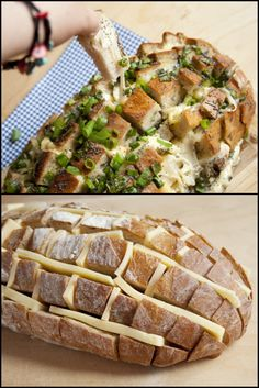 A delicious, cheesy bread for the whole family to enjoy. Make it more personal by adding the toppings for your choice :) Bread Recipes, Cooking Recipes, Healthy Recipes, Cake Recipes, Cheesy Pull Apart Bread, Savory Snacks, Recipe Of The Day, Food Pictures, Food Print