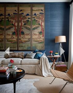 Folding screen on wall.  The Relished Roost: Finding Balance In The Trendy World of Design