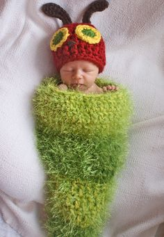 READY TO SHIP Very Hungry caterpillar hat & cocoon photo prop. $45.00, via Etsy.
