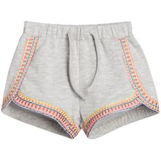 Billieblush Girls Grey Marl Cotton Shorts with Embroidery at Childrensalon.com