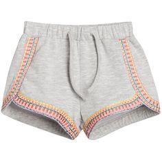 Billieblush Girls Grey Marl Cotton Shorts with Embroidery at Childrensalon.com