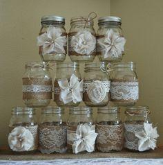 Set of 12 Mason Jar Sleeves, Rustic Burlap Wedding Centerpieces, Mason Jar Wedding, Rustic Wedding Decorations, Shabby Chic Wedding