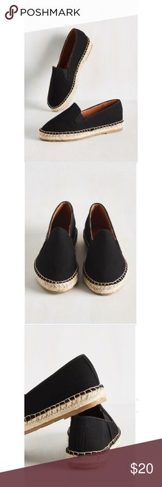 Shortcut From The Same Cloth Flat A quick way to find out who your fashion soul mates are is to sport these black slip on flats and see who they attract! This canvas pair's simple design, espadrille-inspired soles and topstitching are rad, retro features that do an impressive job of drawing in like-minded lovelies. Textile upper, man-made lining and sole. Size 8.5 but fit like an 8. Worn only twice, in excellent condition. Brand is Bamboo. I welcome reasonable offers but please read my…