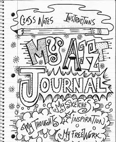 The Lost Sock : Art Class Journaling. Lettering, doodling, idea lists to help kids get started. High School Art, Middle School Art, Class Notes, Class Class, Zentangle, Classe D'art, Sketchbook Assignments, 6th Grade Art, Art Worksheets