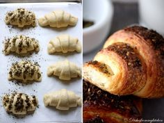 PLAIN BUTTERY CROISSANTS & WITH ZATAR        ¼ oz (7 gm) of fresh yeast, or 1¼ tsp (6¼ ml/4 gm) of dry-active yeast (about ½ sachet)  3 tablespoons (45 ml) warm water (less than 100°F/38°C)  1 tsp (5 ml/4½ gm) sugar  1 3/4 cups (225 gm/½ lb) of strong plain flour (I used  Bread flour)  2 tsps (10 ml/9 gm) sugar  1½ tsp (7½ ml/9 gm) salt  ½ cup (120 ml/¼ pint) milk   2 T (30 ml) vegetabkle oil  1/2 xcup unsalted butter  1 egg for egg wash