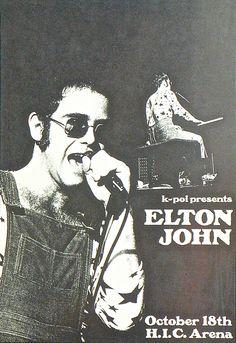 1972 Elton John Concert Poster — H.I.C. Arena, Honolulu, HI