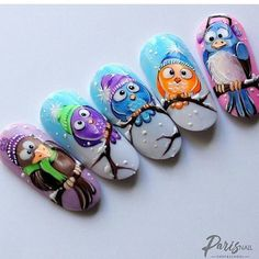 VK is the largest European social network with more than 100 million active users. Owl Nail Art, Owl Nails, Animal Nail Art, Xmas Nails, Cute Nail Art, Christmas Nail Art, Cute Nails, Minion Nails, Animal Nail Designs