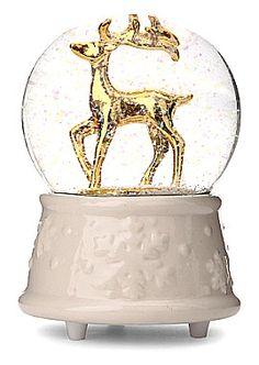 Gisela Graham Large White Gold Reindeer Music Globe   Coast & Country…