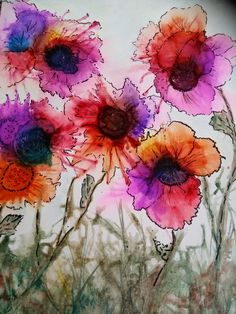 Beautiful blown alcohol ink flowers. So lovely!!