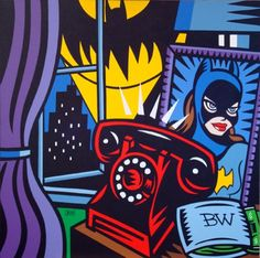 Pop-Art-By-Burton-Morris-Batman-Kissing-Batgirl
