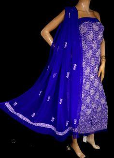 ISHIEQA's Ink Blue Georgette Chikankari Dress Material-KL0201D Types Of Stitches, Ink Blue, Kurti, Strapless Dress, Designers, Pure Products, Silk, Studio, Yellow