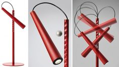 adjustable lamp uses a magnetic ball as the joint (Giulio Iacchetti)