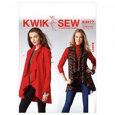 Kwik Sew Ladies Easy Sewing Pattern 3977 Waterfall Front Waistcoat