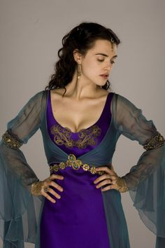 """Merlin Katie McGrath as """"Morgana"""" Morgana Le Fay, Merlin Morgana, Female Armor, Katie Mcgrath, Fantasy Costumes, Medieval Fashion, Poses, World Of Fashion, Pretty Outfits"""