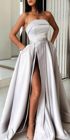 strapless prom dresses long 2020 silver elegant simple satin cheap prom gown with side slit casement - evening dress Grey Prom Dress, Strapless Prom Dresses, A Line Prom Dresses, Prom Dresses Online, Long Dresses, Long Elegant Dresses, Maxi Dresses, Fashion Dresses, Cheap Dresses