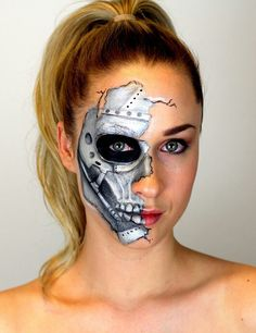 Best Robot Makeup Ideas For Amazing Halloween Party Robot Makeup, Makeup Fx, Skull Makeup, Hand Makeup, Makeup Ideas, Terminator Makeup, Terminator Costume, Halloween Makeup Looks, Halloween Kostüm