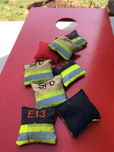 Firefighter gifts - turnout gear cornhole bags with custom embroidery Firefighter Home Decor, Firefighter Birthday, Firefighter Gifts, Firefighter Photography, Paramedic Gifts, Fireman Party, Fire Prevention, Fire Hose, Young Adults