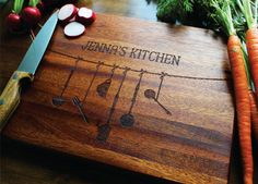 Personalized Wood Cutting Board Custom by SugarTreeGallery on Etsy
