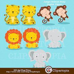 Jungle Animals Baby Digital Clipart / Safari by ClipArtopia