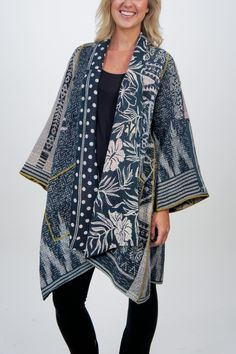 One-of-a-kind Cotton Jacket by Mieko Mintz Kimono Fashion, Boho Fashion, Fashion Outfits, Womens Fashion, Quilted Clothes, Sewing Clothes, Linens And Lace, Line Jackets, Cool Outfits