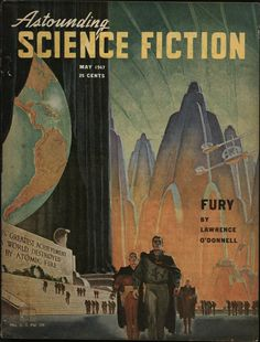 """Astounding Science Fiction (May 1947) cover art by Hubert Rogers, featuring Henry Kuttner's """"Fury."""""""